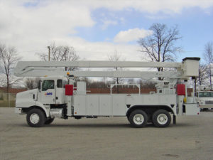 Service truck with an aerial work platform installed on the back